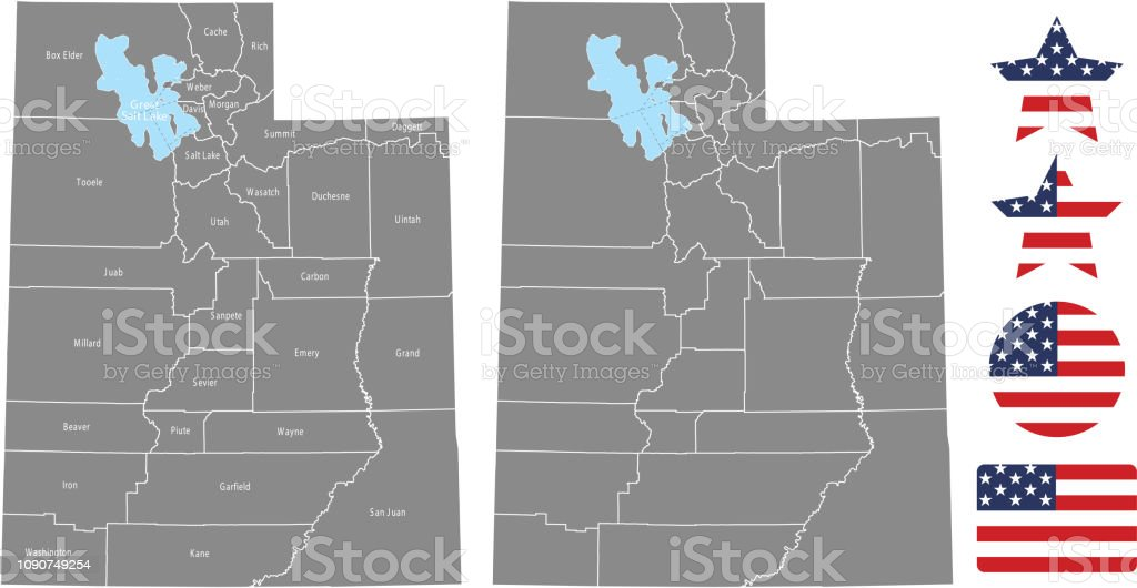 Utah County Map Vector Outline In Gray Background Utah State ...