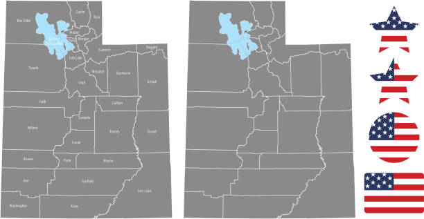Utah county map vector outline in gray background. Utah state of USA map with counties names labeled and United States flag icon vector illustration designs The maps are accurately prepared by a GIS and remote sensing expert. san juan county colorado stock illustrations