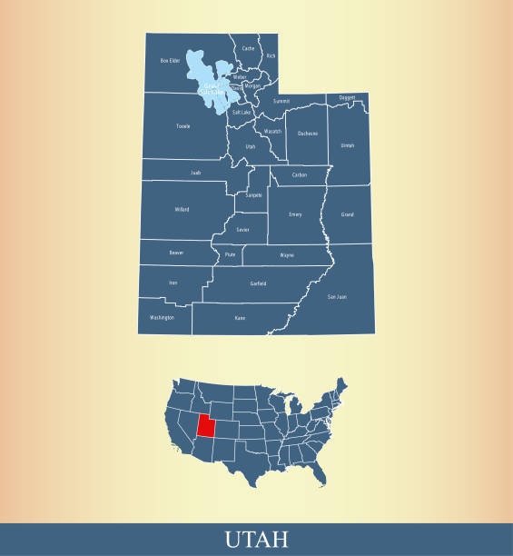 Utah county map vector outline with counties names labeled and USA map in blue background All counties have separate borders that are accurately prepared and are also selectable and editable. san juan county colorado stock illustrations