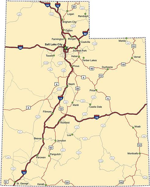 Utah Highway Map (vector) vector art illustration