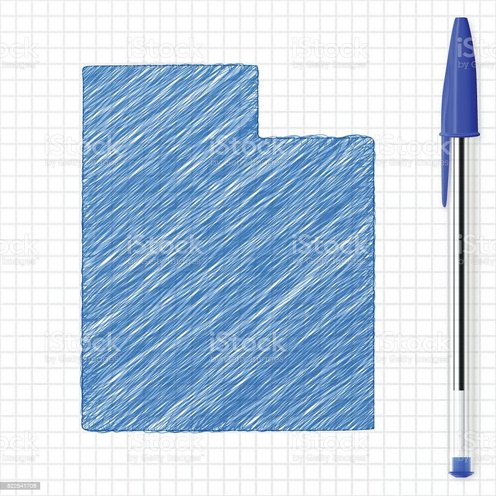Utah Map Sketch On Grid Paper Blue Pen Stock Vector Art 522541706 Ballpoint Diagram And Notepad Royalty Free Photos