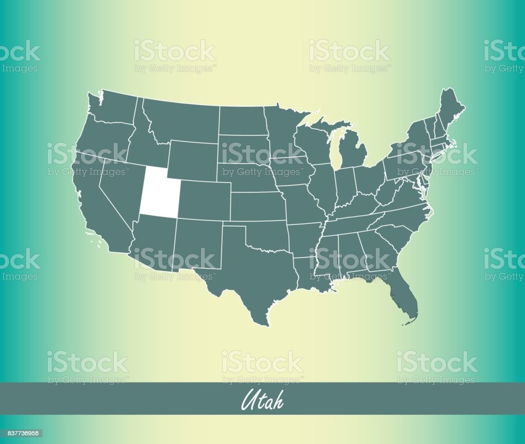 Utah Map Vector Outline Illustration Highlighted In United ...