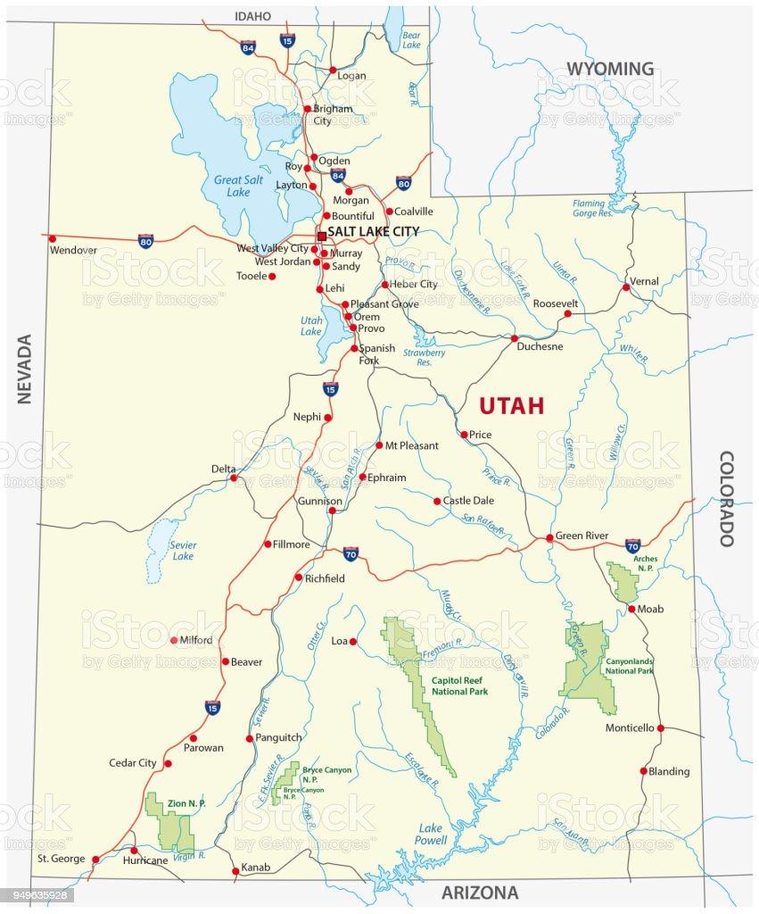 Map Of Arizona And Utah National Parks.Utah Road And National Park Map Stock Vector Art More Images Of