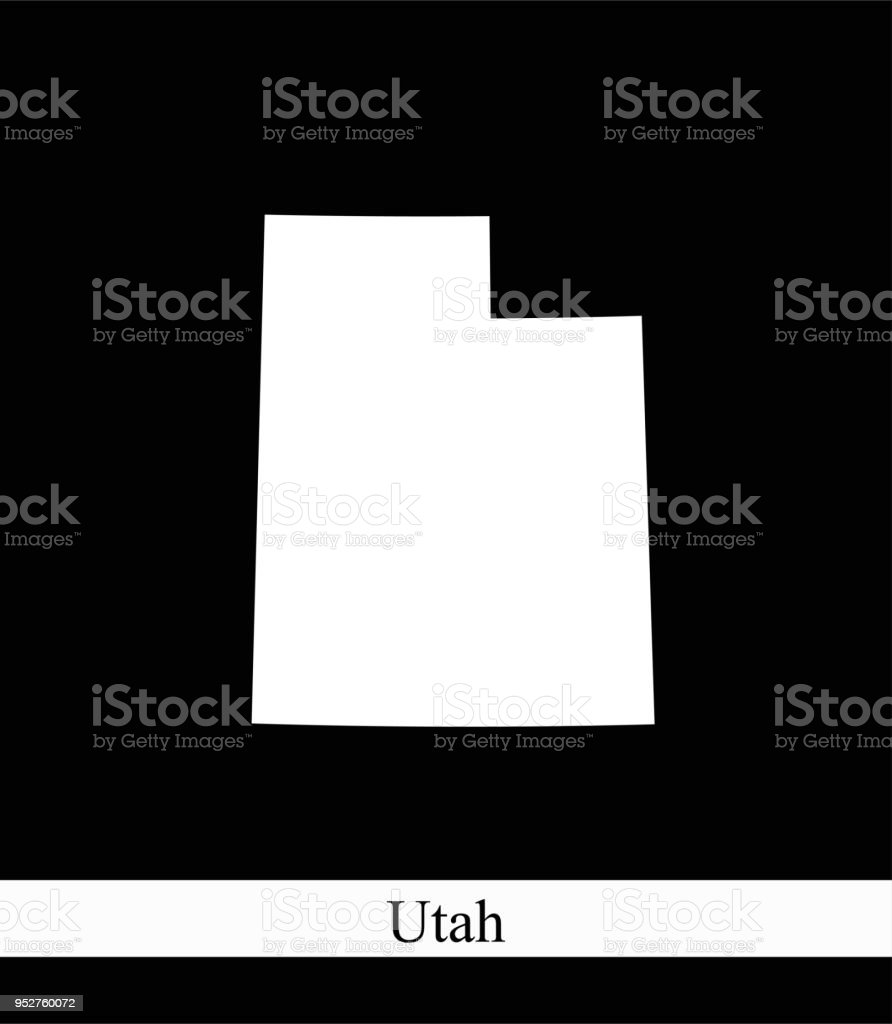 Utah State Of Usa Map Vector Outline Illustration Black And ...