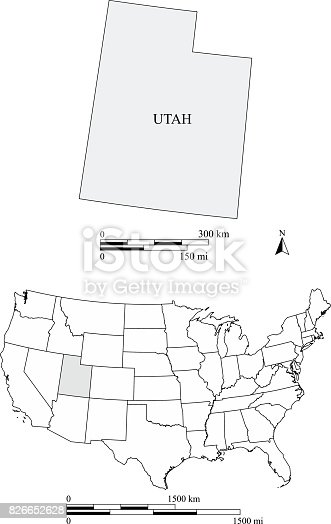 Utah State Of Usa Map Vector Outline With Scales Of Miles And - Usa map utah