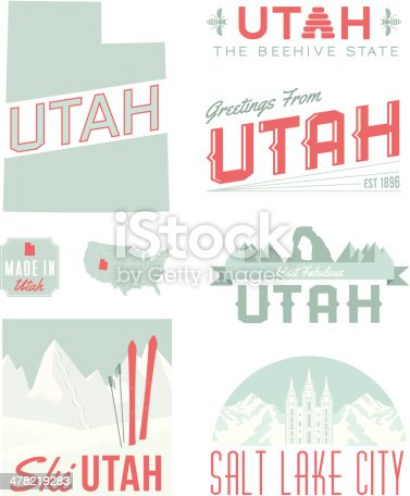 A set of vintage-style icons and typography representing the state of Utah, including Salt Lake City. Each items is on a separate layer. Includes a layered Photoshop document. Ideal for both print and web elements.