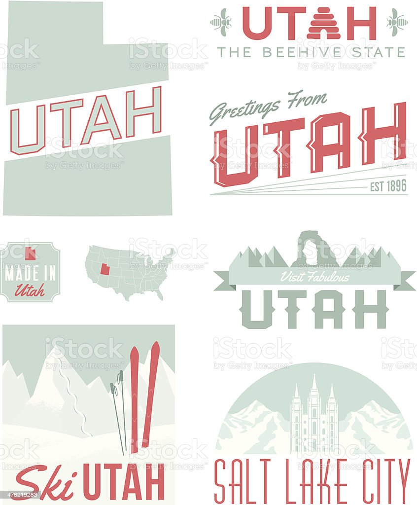 Utah Typography vector art illustration