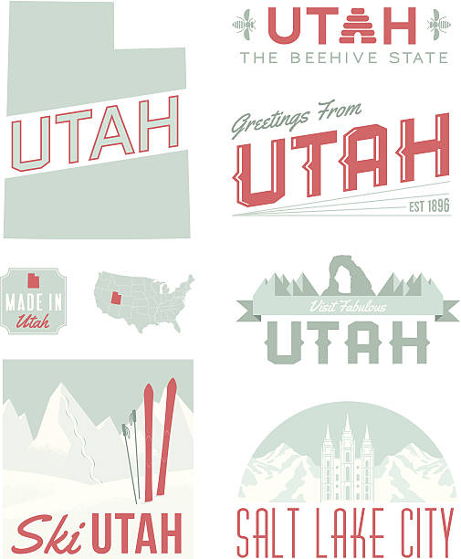 Utah Typography A set of vintage-style icons and typography representing the state of Utah, including Salt Lake City. Each items is on a separate layer. Includes a layered Photoshop document. Ideal for both print and web elements. delicate arch stock illustrations