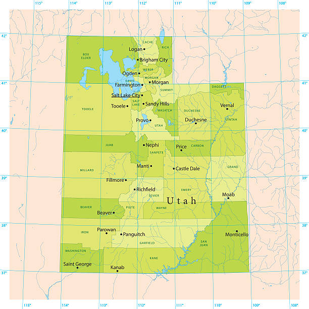 Utah Vector Map Detailed vector map of the US State of Utah with administrative divisions. The colors in the .eps-file are ready for print (CMYK). Included files are EPS (v10) and Hi-Res JPG (4924 x 4924 px). lake powell stock illustrations