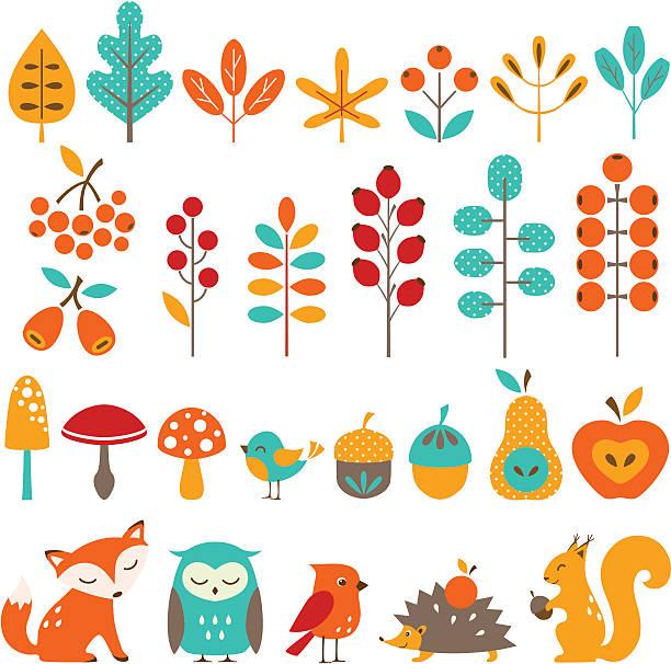stockillustraties, clipart, cartoons en iconen met сute autumn design elements - vogel herfst