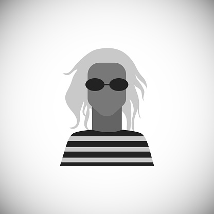 Сute avatar of man in sunglasses with dreadlocks. Silhouette simple black icon of character. Stylish guy.