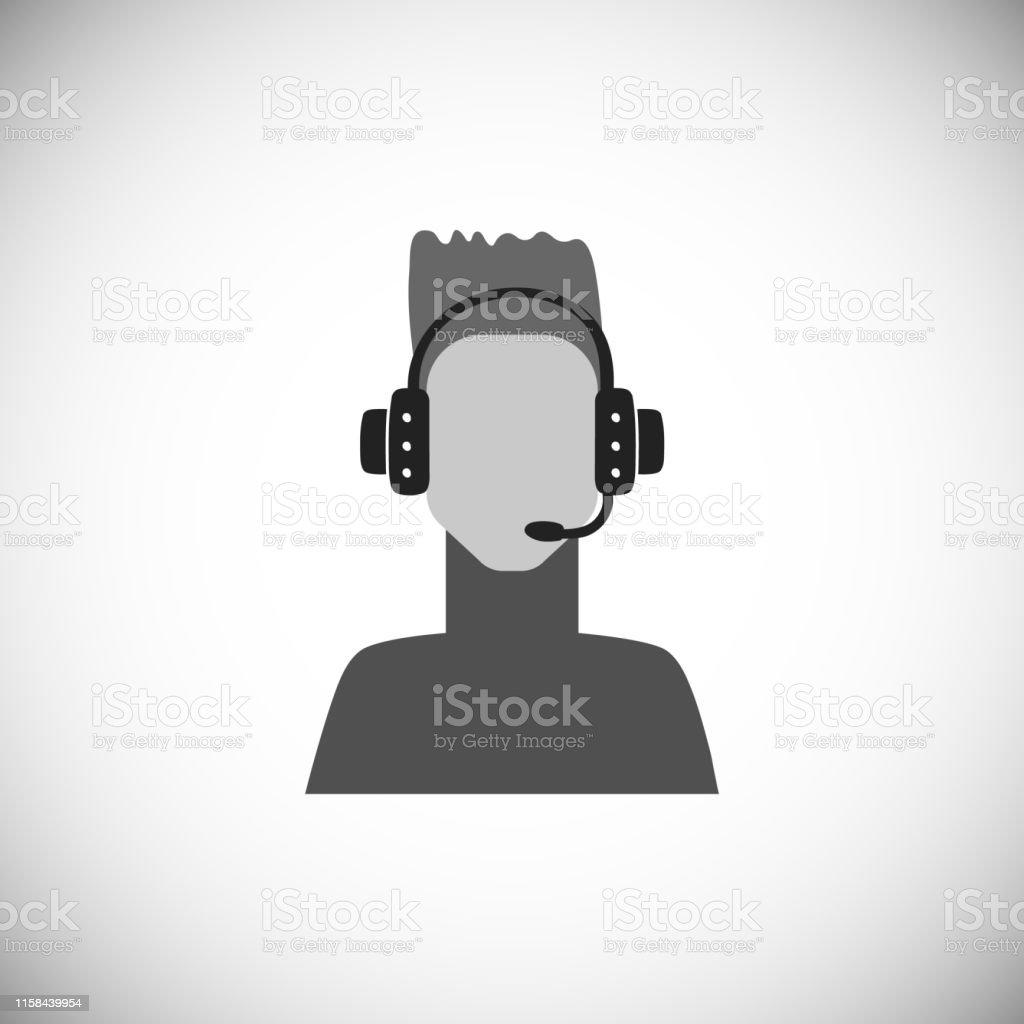 Сute Avatar Of Speaker With Headphones Silhouette Simple