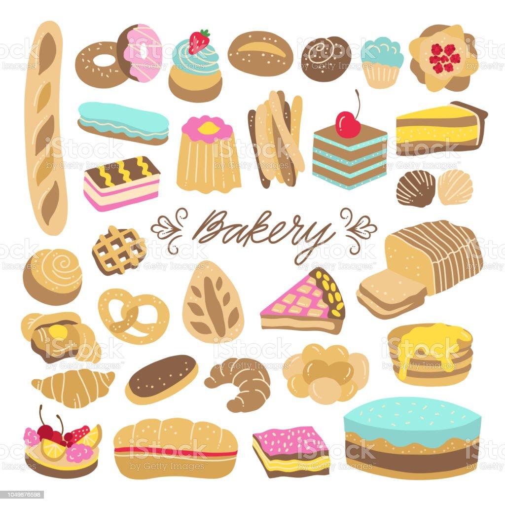 сute Illustrations De Boulangerie Et De Pâtisserie Pain Gâteaux