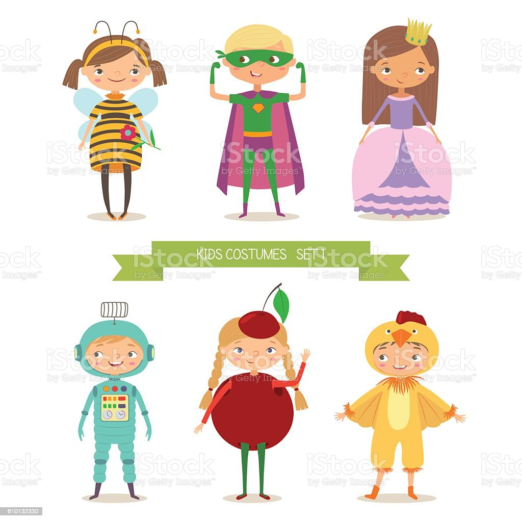 Сute kids in different costume vector art illustration