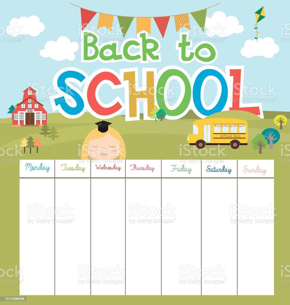 Сute school schedule weekly planner back to school stock vector art