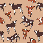 ute spotted calf or cows background. Seamless pattern with little cartoon cows. Great for children's book, wallpaper, fabric, card, packaging design.