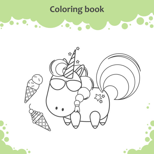 Royalty Free Adorable Pony Coloring Page For Kids Clip Art ...