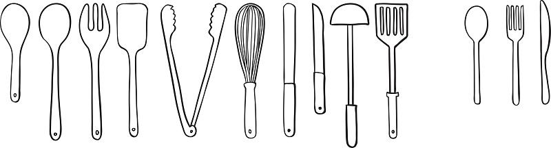 utensil doodle, drawing