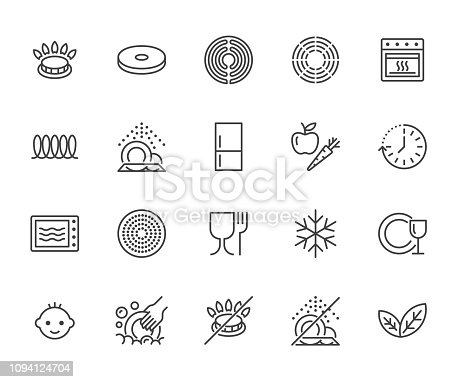 Utensil flat line icons set. Gas burner, induction stove, ceramic hob, non-stick coating, microwave, dishwasher vector illustrations. Thin signs for pan, dishes. Pixel perfect 64x64. Editable Strokes.
