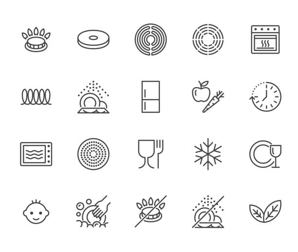 Utensil flat line icons set. Gas burner, induction stove, ceramic hob, non-stick coating, microwave, dishwasher vector illustrations. Thin signs for pan, dishes. Pixel perfect 64x64. Editable Strokes Utensil flat line icons set. Gas burner, induction stove, ceramic hob, non-stick coating, microwave, dishwasher vector illustrations. Thin signs for pan, dishes. Pixel perfect 64x64. Editable Strokes. oven stock illustrations