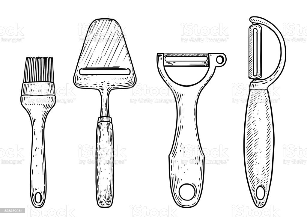 Utensil illustration, drawing, engraving, ink, line art, vector vector art illustration