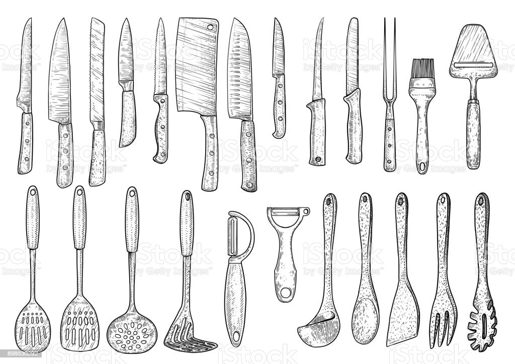 Utensil illustration, drawing, engraving, ink, line art, vector