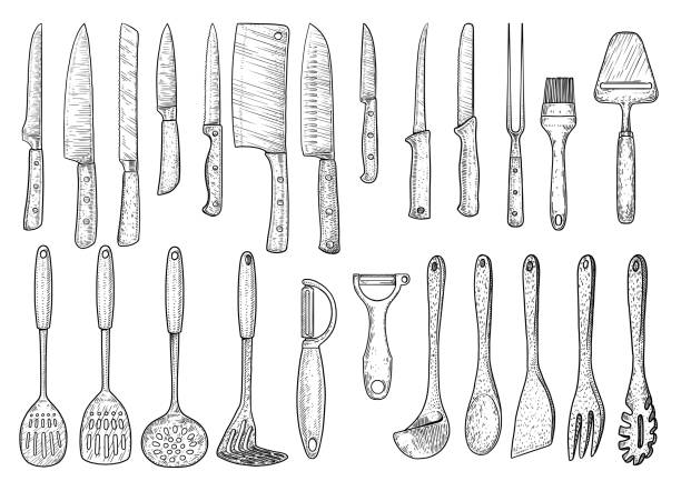 Utensil illustration, drawing, engraving, ink, line art, vector Illustration, what made by ink, then it was digitalized. cooking utensil stock illustrations
