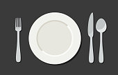 Utensil in flat style. Illustration with plate, knife, fork and spoon