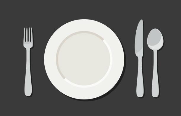 utensil im flachen stil - tafelbesteck stock-grafiken, -clipart, -cartoons und -symbole