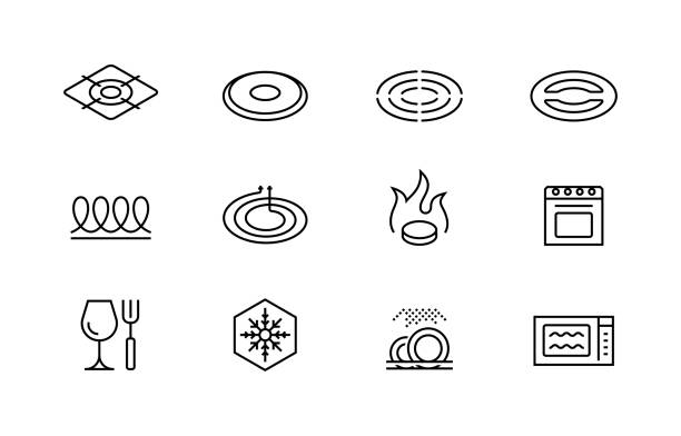 Utensil properties and destination vector icon set Utensil properties and destination vector icon set stove stock illustrations