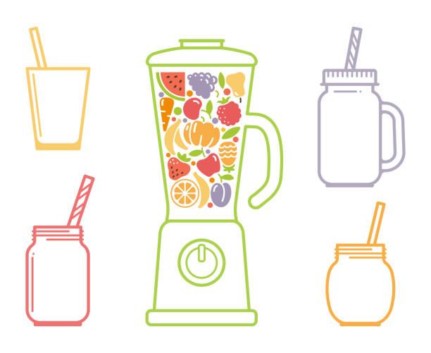 geschirr und zubehör für smoothies - küchenmixer stock-grafiken, -clipart, -cartoons und -symbole
