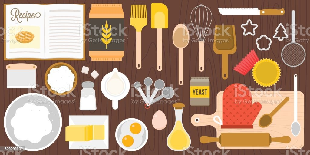 utensils and ingredients for bakery vector art illustration
