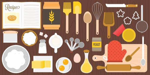 utensils and ingredients for bakery utensils and ingredients for bakery on wooden background in top view, flat design vector in aerial view cookie cutter stock illustrations