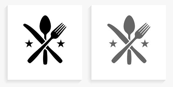 Utensils Black and White Square Icon