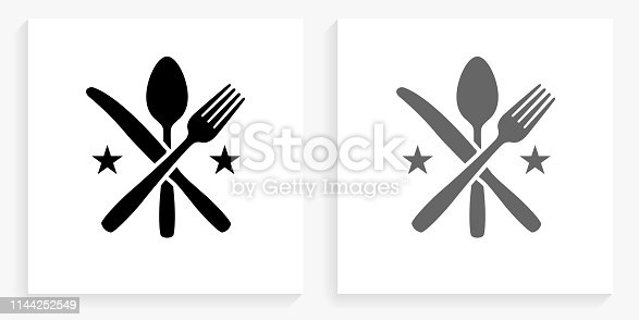 Utensils Black and White Square IconDocuments and Paper Clip Black and White Square Icon