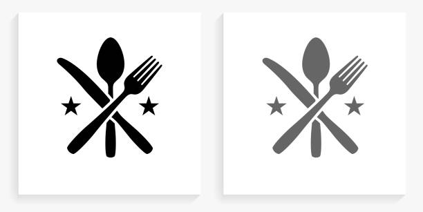 Utensils Black and White Square Icon vector art illustration