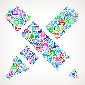 Utensils education & school royalty free vector art Pattern