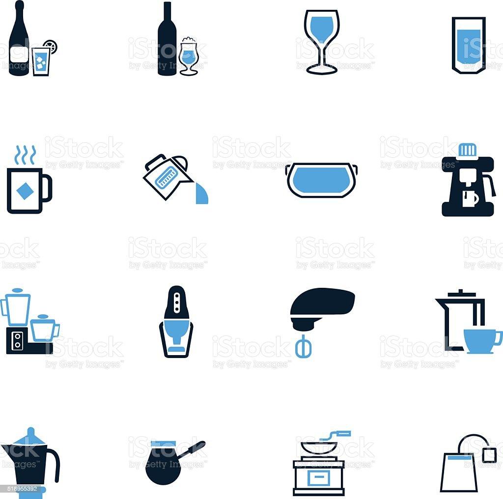 Küchenutensilien Für Die Vorbereitung Von Getränken Symbole Satz ...