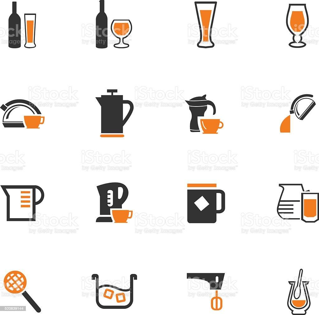 Küchenutensilien Für Die Vorbereitung Von Getränken Symbole Vektor ...