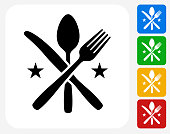 Utensils Icon. This 100% royalty free vector illustration features the main icon pictured in black inside a white square. The alternative color options in blue, green, yellow and red are on the right of the icon and are arranged in a vertical column.