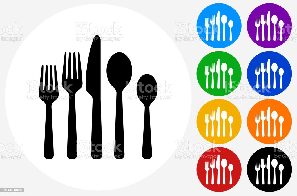 Utensils Icon on Flat Color Circle Buttons – Vektorgrafik