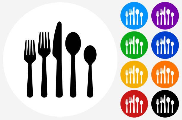 utensils icon on flat color circle buttons - gabeln stock-grafiken, -clipart, -cartoons und -symbole