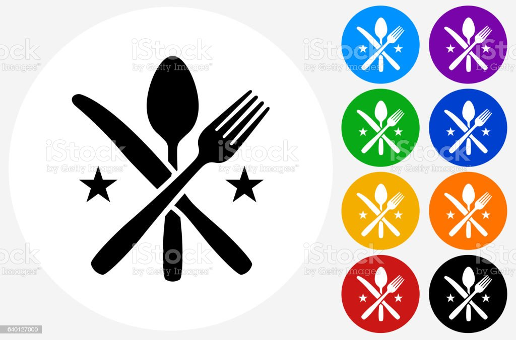 Utensils Icon on Flat Color Circle Buttons vector art illustration