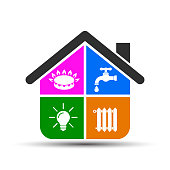 Utilities icons in flat style: water, gas, lighting, heating – stock vector