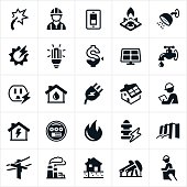 A set of icons representing the three commonly used public utilities. These utilities include electricity, gas and water. They also include other forms of residentially used energy including solar energy. The icons include electricity, utilities worker, light switch, gas stove, shower, light bulb, solar energy, costs, solar panel, water faucet, electrical outlet, natural gas, hydro electricity, power line, natural gas production and gas well among others.