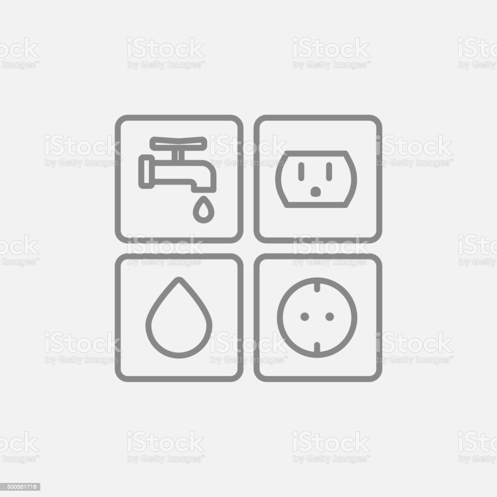 Utilities Signs Electricity And Water Line Icon Stock Vector Art ...