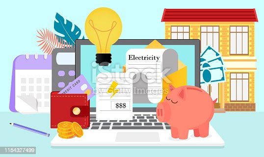 Utility bills and saving resources concept. Vector flat of electricity invoice payment is presented. It can be used for landing page, template, ui, web, mobile app, poster, banner.