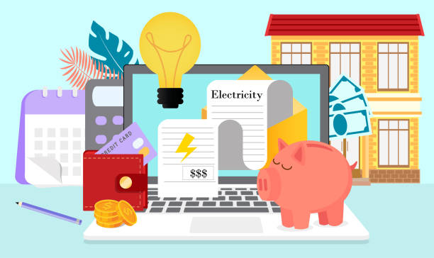 Utility bills and saving resources Utility bills and saving resources concept. Vector flat of electricity invoice payment is presented. It can be used for landing page, template, ui, web, mobile app, poster, banner. budget stock illustrations