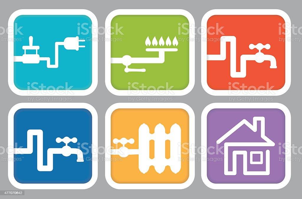 Utilityicons Strom Gas Wasser Und Heizung House Stock Vektor Art und ...