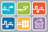 Utility icons: electricity, gas, water, heating, house
